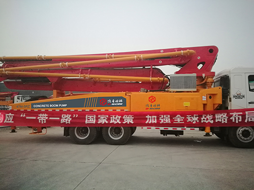EP machine 47m concrete boom pump truck delivery to Uzbekistan