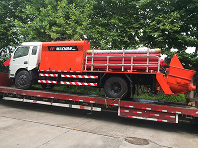 Truck mounted concrete line pump delivery to Myanmar