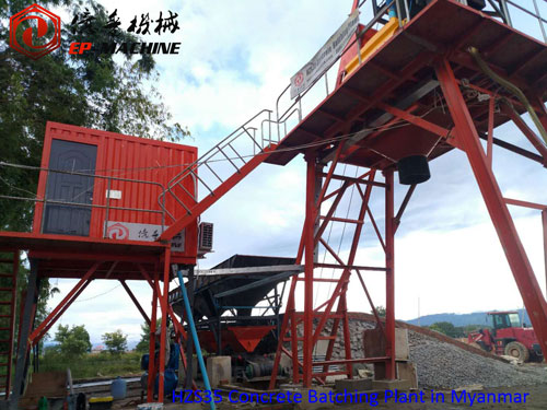 Install mobile concrete batching plant in Myanmar