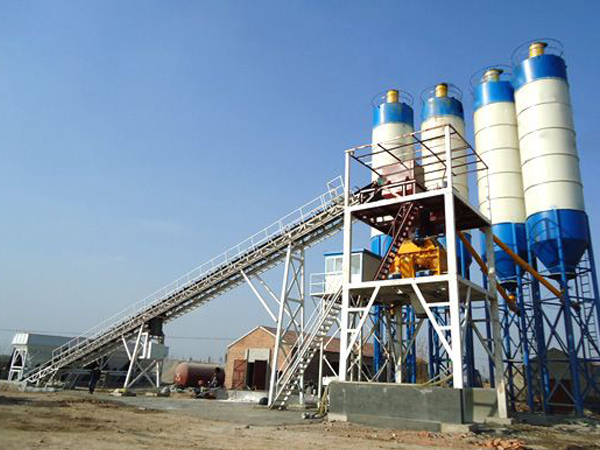 HZS belt type concrete batching plant