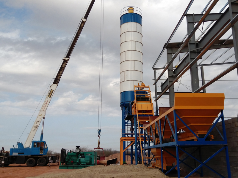 HZS bucket type concrete batching plant